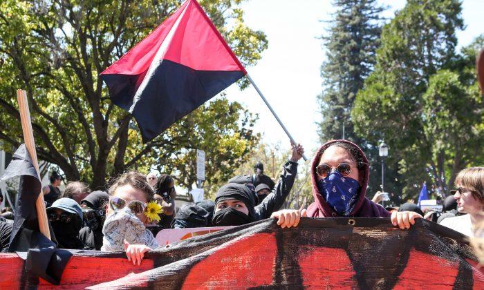 Terrorist Organization Antifa members gather in Berkeley, California
